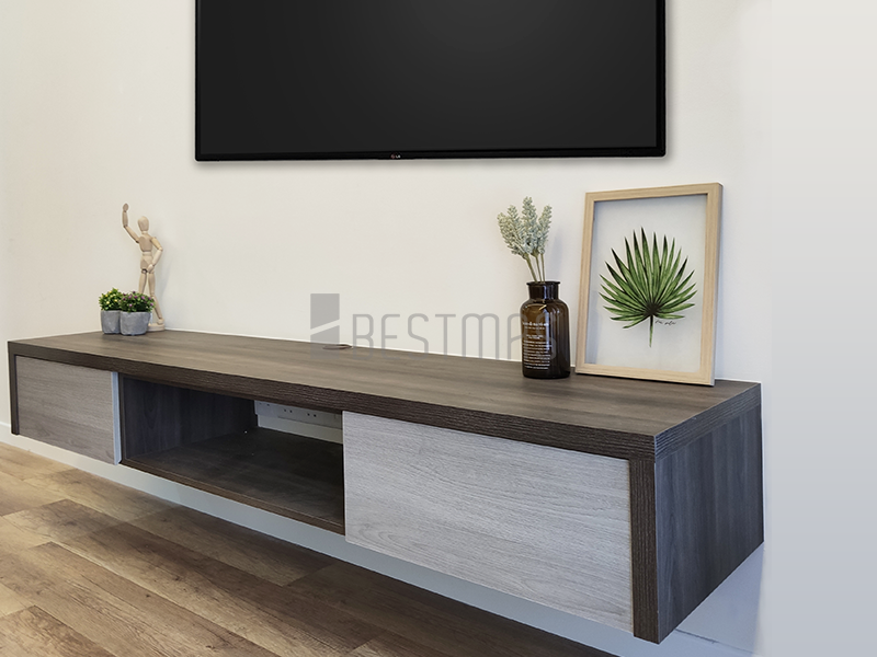 Master Bedroom with Suspended TV Console design