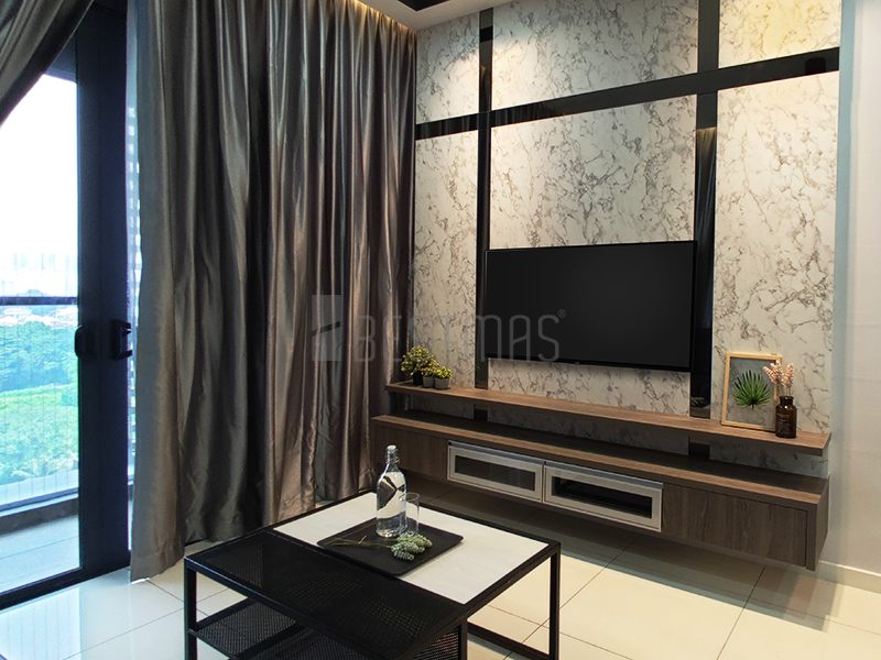 Living Room with Full Height TV Console and Coffee Table design