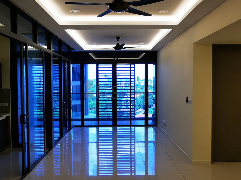 Living Room with Plaster Ceiling and Lighting design