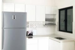 L-shape Quartz Stone Table Kitchen Cabinet design