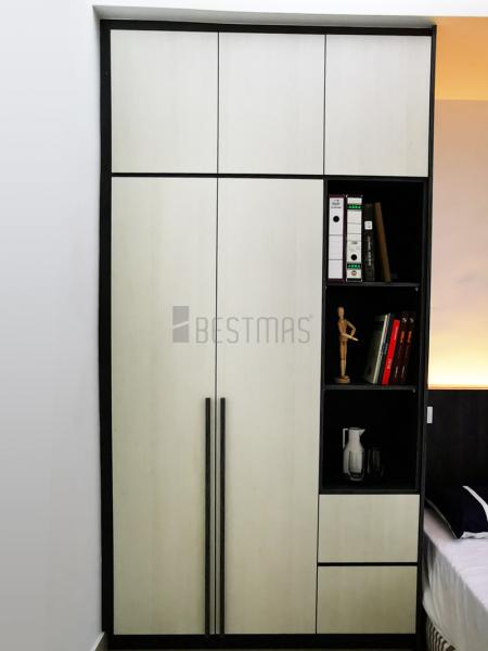 Bedroom 1 with Queen Size Bedset and Swing Door Wardrobe design