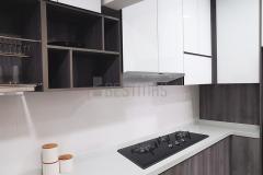 U-shape 5G Glass Door and Quartz Stone Table Kitchen Cabinet design