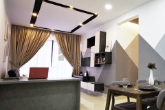 Living Room with TV Console, Dining Table and Plaster Ceiling design #