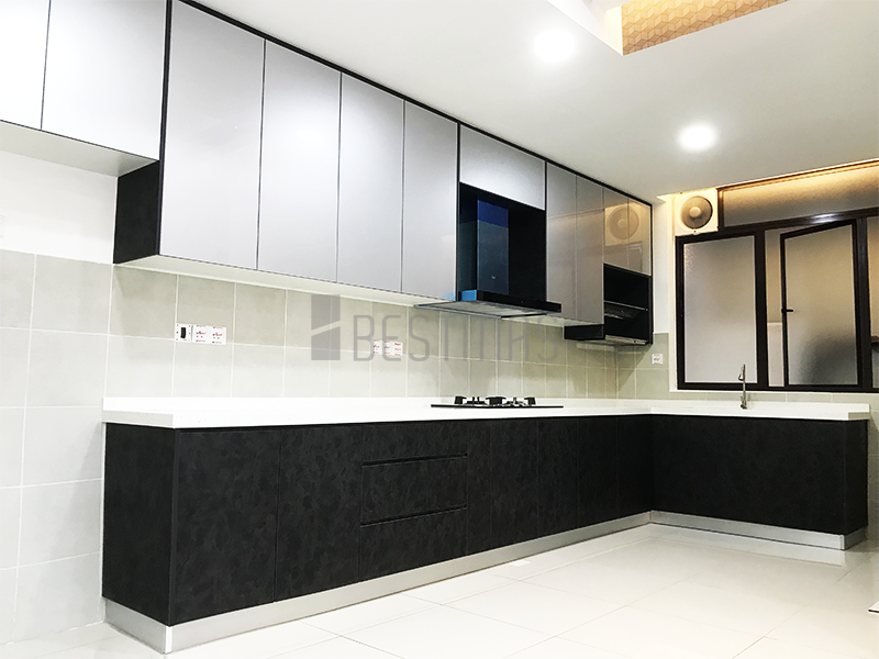 L-shape 5G Glass Door and Quartz Stone Table Kitchen Cabinet Design