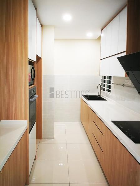 I-shape 5G Glass Door and Quartz Stone Table Kitchen Cabinet design
