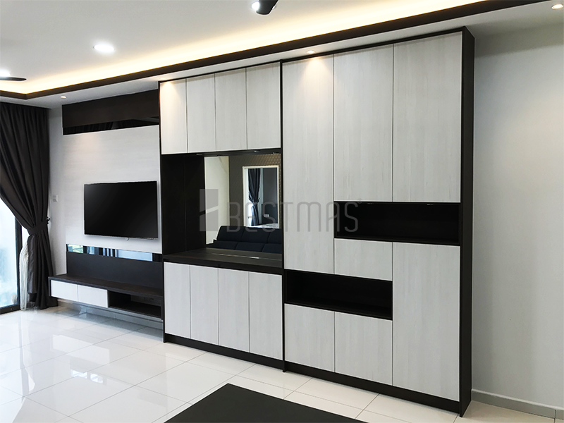 Living Room with TV Console and Mirrored Display Console design #