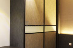 Master Bedroom with Antijump Sliding Door Wardrobe and King size Bedset design