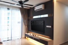 Living Room with Full Height TV Console and Plaster Ceiling design