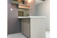 Quartz Stone island Provides more working space in the kitchen and designed with wall mounted shelf for more cabinet storage